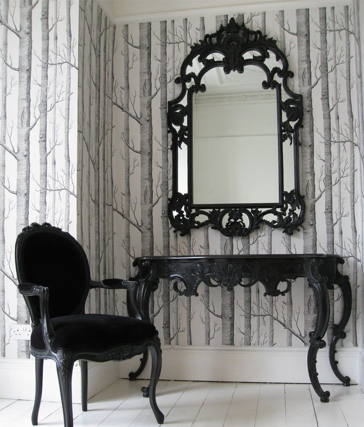 The French Bedroom Company Blog, Perfect Pairs: get The Look with console table and mirror pairings for your hallway and lounge making a striking first impression for your interior. Black sassy boo console table and chair. Perfect to replace a dressing table in a french bedroom