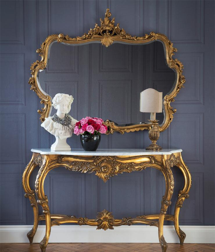 The French Bedroom Company Blog, Perfect Pairs: get The Look with console table and mirror pairings for your hallway and lounge making a striking first impression for your interior. Versailles Console Table with Miss Lala Gold French Mirror