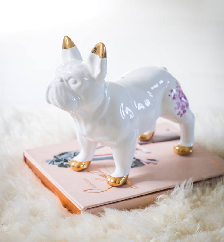 The French Bedroom Company Blog, Meet The Makers: Mineheart interview with Vanessa Batagglia and Brendan Young. Fuchsia Delft Bulldog Figurine statue figure with gold detailing