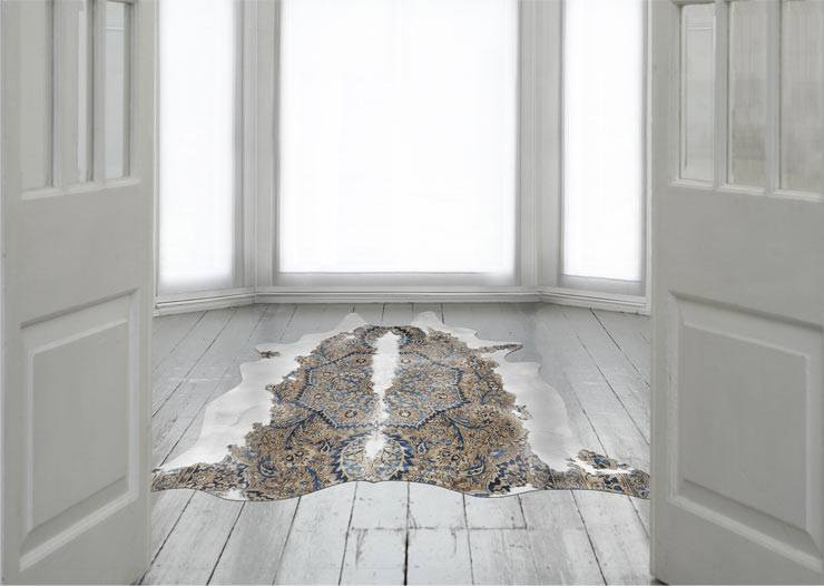 The French Bedroom Company Blog, Meet The Makers: Mineheart interview with Vanessa Batagglia and Brendan Young. Persian Cowhide rug blue and brown cow hide