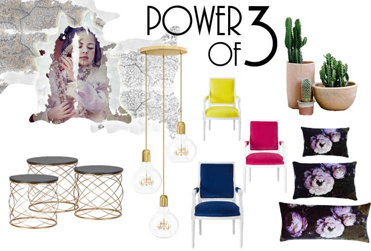 The French Bedroom Company, The Power of 3 in interior design blog, including cluster lighting and nest tables