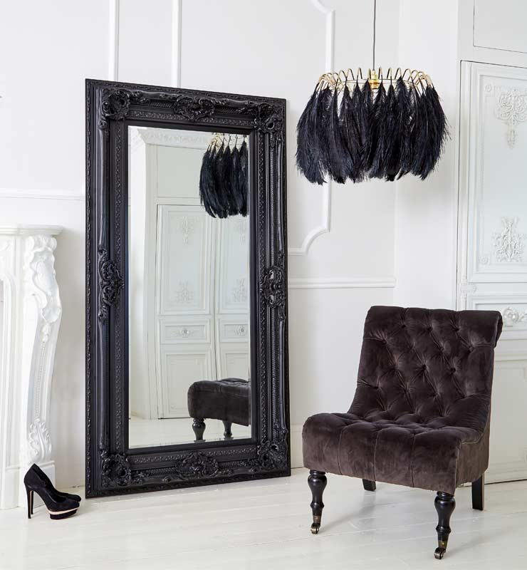 The French Bedroom Company Blog, the power of 3. Looking at clusters, collections and groups of threes in interior design and your home. This beautiful monochrome, black and white, room in our showroom shows our Rock Luxe Black Velvet Chair, Black Feather Pendant and Marquiss Mirror in Black - a perfect trio