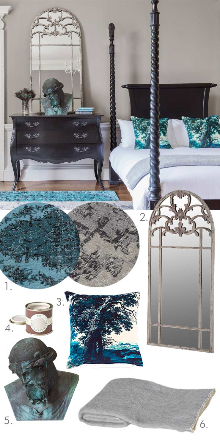 The French Bedroom Company Blog, Get The Look. Steal our stylists' tips on getting the French Bedroom look in your home. Starting with our Sassy Boo Black Four Poster Bed. Black painted bedroom furniture with chest of drawers, blue rug, grey kilim rug, large vintage wall mirror
