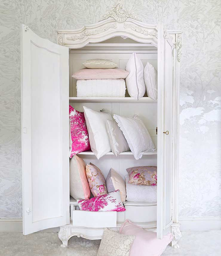 The French Bedroom Company Blog, 10 French Wedding Traditions for a French Wedding. Wedding Armoire or Hope chest filled with beautiful French linen, bed linen, dreesses and lingerie. White painted shabby chic armoire