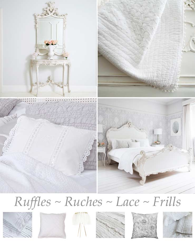 The French Bedroom Company, Victoriana Whites blog Summer Trends 2016 ruffles, ruches, lace and frills in white bedrooms
