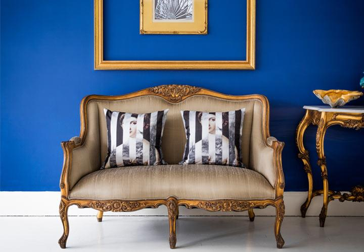 gold silk sofa