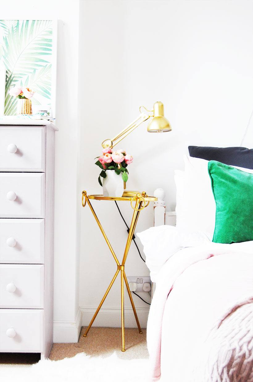 Gold bedside table
