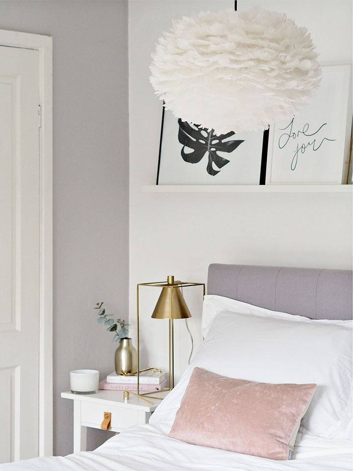 scandi bedroom grey bed