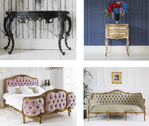 French Bedroom Classics - French Console Table, Velvet Luxury Bed, French Style Bedside Table, Damask Bedroom Sofa