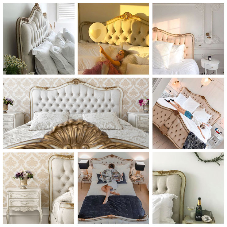 Beautiful ivory and and gold upholstered bed